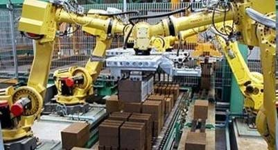 Automated Robots integrated into a network. This allows the PLC to control all equipment in the correct sequence of operations